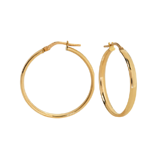 9kt Yellow Gold Oval Tube Round Hoop (25mm)