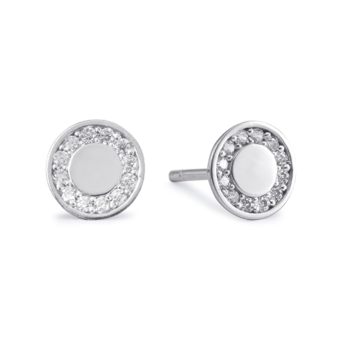 9Kt Gold Round Cubic Zirconia Stud Earrings