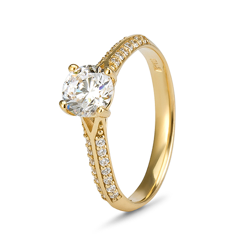 9Kt Gold Cubic Zirconia 4 Claw Solitare Pave' Shoulders