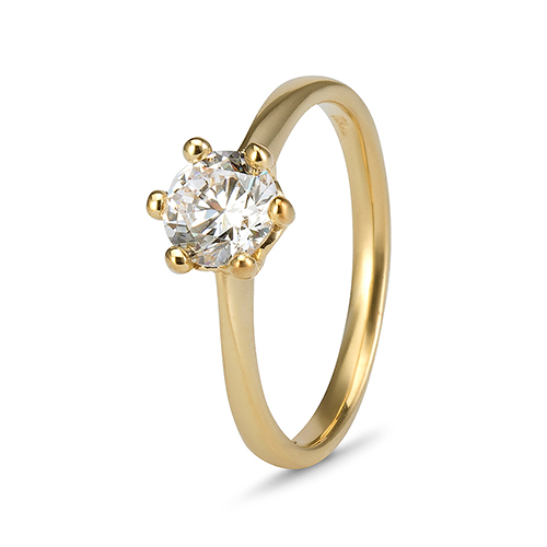 9Kt Gold Cubic Zirconia 6 Claw Solitaire Ring