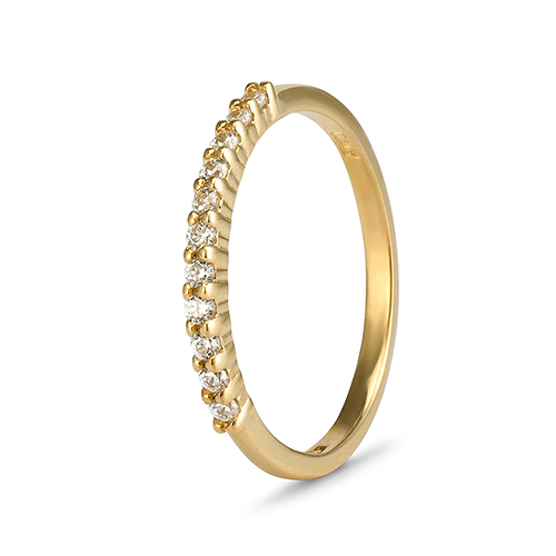 9Kt Gold Cubic Zirconia Claw Eternity Ring