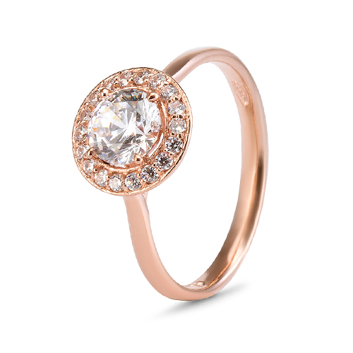 9Kt Gold Cubic Zirconia Halo Ring