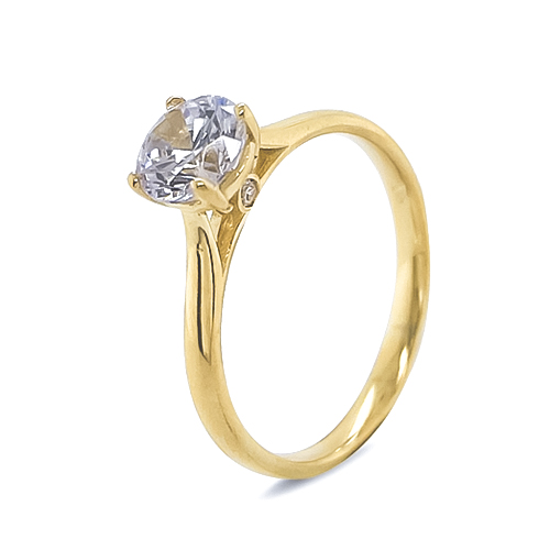 9Kt Gold Cubic Zirconia Solitare Ring Side CZ's On Bridge
