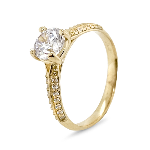 9Kt Gold Cubic Zirconia 4 Claw Solitare Pave' Shoulders Ring