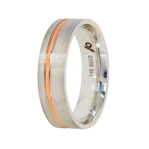 9Kt Gold & Argentium Wedding Band-Rose Gold Inlay