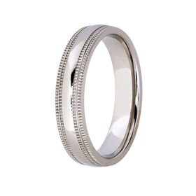 Titanium with Edged Pattern on Side Wedding Band (5mm)