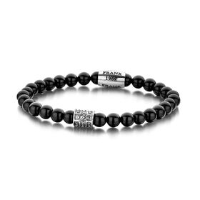 Stainless Steel Black Jade Bead Bracelet (6mm)