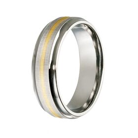 Titanium & Single Band 9kt Yellow Gold Inlay Ring (7mm)