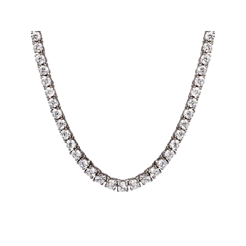 Silver & Round Cubic Zirconia Tennis Necklace (3mm)